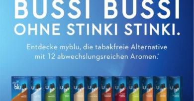 """Unter dem Motto """"Mein Jahr beginnt mit Genuss. Aber ohne Tabak."""" startete im Januar die Kampagne der in Deutschland neuen E-Zigaretten-Marke MyBlu"""