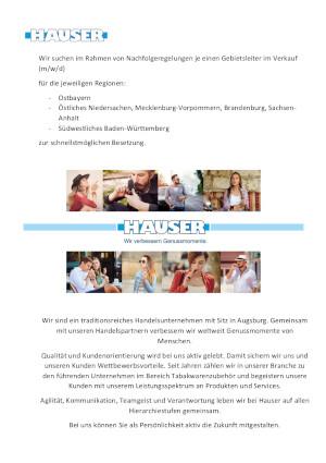 Hauser Augsburg Stellenanzeige